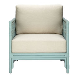 Selamat - Selamat Regeant Lounge Chair in Rattan-Light Blue - English garden pavillions are echoed in the decor and elegant style of the Regeant Collection. Leather wrapped rattan pole, PU foam fiber fill in Rice fabric upholstery.