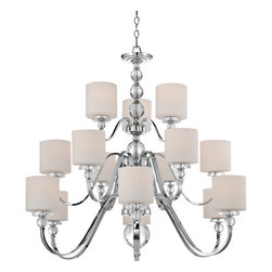 "Quoizel - Transitional Quoizel Downtown 15-Light Chrome Chandelier - The Downtown fifteen-light chandelier by Quoizel is a gorgeous addition to the home and adds a touch of elegance to any room. The frame features a beautiful center design with multiple arms in polished chrome finish that hold each light. For a sleek look this chandelier is sure to be a wonderful addition to any kitchen or dining room. Polished chrome finish. Fifteen maximum 100 watt or equivalent bulbs (not included). 44"" wide. 41 1/2"" high. Each shade measures 4"" wide 6"" high.  Polished chrome finish.  A large chandelier with three levels of lights.  Fifteen maximum 100 watt or equivalent bulbs (not included).  44"" wide.  41 1/2"" high.  Each shade measures 4"" wide 6"" high."