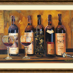 Amanti Art - Marilyn Hageman 'Cellar Reds' Framed Art Print 44 x 32-inch - Wine lover?  Express it through this framed art print by Marilyn Hageman.  Warm tones and wine glasses inviting you to have a sip of your favorite red will add a note of interest to your kitchen or dining area.