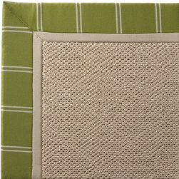 Frontgate - Outdoor Parkdale Rug in Sunbrella Topside Green with Off-White Border - 5' x 8' - Wicker-textured base is woven in soft and durable olefin. Cleans with soap and water. Sunbrella® fabric is resistant to fading, staining, and mildew. Rug pad recommended (sold separately). Made in the USA. Our Parkdale Rug with colorful borders matches the premium all-weather fabrics featured on our replacement cushions, pillows, draperies, and umbrellas. This all-weather rug will work just as beautifully indoors as it does outside. . . Sunbrella fabric is resistant to fading, staining, and mildew. . .