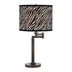 Design Classics Lighting - Modern Swing Arm Lamp with Black Shade in Bronze Finish - 1902-1-604 SH9485 - Contemporary / modern remington bronze 1-light table lamp. Swing arm has a maximum 9-inch extension. Takes (1) 100-watt incandescent three-way bulb(s). Bulb(s) sold separately. UL listed. Dry location rated.
