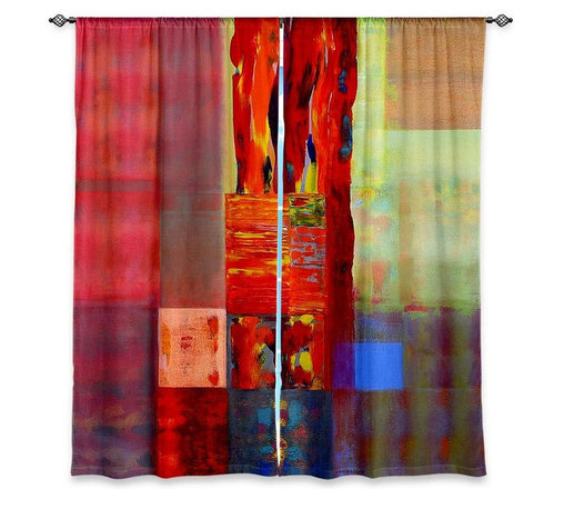 "DiaNoche Designs - Window Curtains Unlined - Hooshang Khorasani Color Storm Abstraction III - DiaNoche Designs works with artists from around the world to print their stunning works to many unique home decor items.  Purchasing window curtains just got easier and better! Create a designer look to any of your living spaces with our decorative and unique ""Unlined Window Curtains."" Perfect for the living room, dining room or bedroom, these artistic curtains are an easy and inexpensive way to add color and style when decorating your home.  The art is printed to a polyester fabric that softly filters outside light and creates a privacy barrier.  Watch the art brighten in the sunlight!  Each package includes two easy-to-hang, 3 inch diameter pole-pocket curtain panels.  The width listed is the total measurement of the two panels.  Curtain rod sold separately. Easy care, machine wash cold, tumble dry low, iron low if needed.  Printed in the USA."