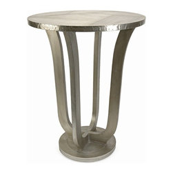 """IMAX - Jensen Aluminum Clad Table - The Jensen aluminum clad table is quite an extraordinary mix of aluminum sheets and miniature nail head details reminiscent of aviation style manufacturing.  Item Dimensions: (30""""h x 23""""d)"""