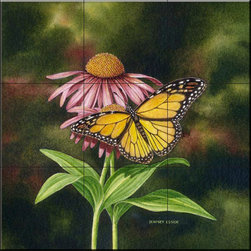 The Tile Mural Store (USA) - Tile Mural - Coneflower Of Choice 2  - Kitchen Backsplash Ideas - This beautiful artwork by Dempsey Essick has been digitally reproduced for tiles and depicts a monarch butterfly.    Butterfly images on tiles are wonderful to add to your kitchen backsplash wall tile project. Bright and beautiful decorative tiles with pictures of butterflies make a great addition to your kitchen backsplash wall tile project. Bring the outdoors in with a butterfly tile mural. You can use a tile mural of butterflies in the bathroom too for your shower tile project. Consider a butterfly tile mural for any wall tile project.