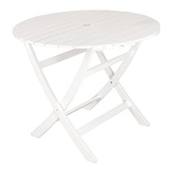 Achla - English Garden Table - Offered in a rich white hue after traditional English garden furniture, our elegant patio table will invite guests to dinner. Folds for convenience. White Enamel. Eucalyptus Hardwood. Knocked down for compact shipping and easy assembly. Coordinates with all English Garden Dining Set pieces. Construction Material: Eucalyptus Wood. No Assembly Required. 36 in. W x 36 in. D x 29 in. H (28 lbs.)