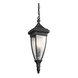 Kichler - Kichler Venetian Rain Outdoor Chain Hung Lighting Fixture in Black with Gold - Shown in picture: Kichler Outdoor Pendant 2Lt in Black W/Gold