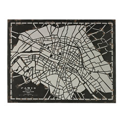 Sterling Industries - Sterling Industries 51-10117 City Map-Laser Cut Map Of Paris Circa 1790 - Wall Panel (1)