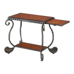 Steve Silver Furniture - Steve Silver Rosemont Chairside End Table with Slide-Out Shelf in Cherry - Traditional styling of metal, wood and cherry finished veneers. Has a slide-out shelf, plus 2 display shelves. Decorative yet built for wear and tear!