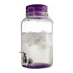 "Jay Companies - Purple Mason Jar Glass Beverage Dispenser - Create a country chic atmosphere, with our charming and classic serving essential, perfect for indoor and outdoor entertaining! It is the perfect addition to spring garden parties, summer barbeques, and children's birthday parties. The timeless design of our lush purple beverage dispenser is perfect for any home and makes a lovely hostess gift she will enjoy for years to come. Whether serving some freshly squeezed orange juice, raspberry lemonade, or fresh mineral water, this server will complete any decorated table and add spark to every day decor.    * Capacity: 1 gallon  * Heavy duty acrylic spout  * Dimensions: 11.5""H x 8.5""W x 6.125""D"