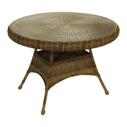 """Forever Patio - Rockport 42 in. Round Patio Dining Table, Brown Wicker - The Rockport 42"""" Round Dining Table (SKU FP-ROC-42DT-CN) gives a new meaning to """"going out for dinner"""", as it will make your patio the perfect place dine. Its UV-protected Chestnut wicker and round-weave design creates a warm, traditional look that is made to last. The top of the table has an umbrella hole for the option to add your own shade to your dining experience. This table also includes a tempered glass top, providing a beautiful and durable surface that is easy to maintain."""