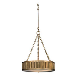 Elk Lighting - Elk Lighting Linden Collection 3 Light Pendant In Aged Brass - 46124/3 - Regular - 3 Light Pendant In Aged Brass - 46124/3 in the Linden collection by Elk Lighting The Linden collection features a drum shape made from a textural wall of metal or crystal.  A frosted glass diffuser (metal tube items) or textured clear glass (crystal items) is cleverly recessed into the drum for a smooth, seamless appearance. Various finishes, including Polished Nickel, Brushed Nickel, Aged Brass and Oil Rubbed Bronze are adaptable into any color scheme.  Pendant (1)
