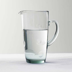 Viva Terra - Dimpled Glass Pitcher - The footed glass, bowl, tumbler and pitcher all share a common source: recycled