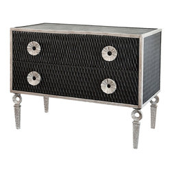 Artisan Chest - Wonderfully textured and detailed with unconventional corrugated-ring motifs, the Artisan Chest uses striking contrast to create a glamorous, lush look in your home. Its black sides are starkly outlined by the grey frame, legs, and drawer pulls; open circle elements in the upright legs emphasize the lightness conveyed by thoughtful use of negative space.