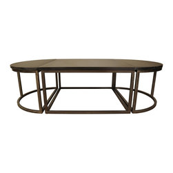 NOIR - NOIR Furniture - Oval Stone Coffee Table with Metal - TAB128ST - Features: