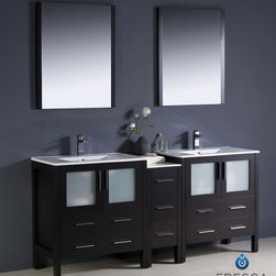 "Fresca - Fresca Torino 72"" Modern Double Sink Bathroom Vanity w/ One Side Cabinet & Two I - Fresca is pleased to usher in a new age of customization with the introduction of its Torino line. The frosted glass panels of the doors balance out the sleek and modern lines of Torino, allowing it to fit perfectly in both 'Town' and 'Country' décor.The Fresco Torino bathroom vanity is 72"" wide and 33.75"" high, and boasts 18.13"" deep under-sink storage space – perfect for towels and other bathroom necessities. This bathroom vanity is completed with a 25.5"" wide x 31.5"" high x 1.25"" deep wall mounted mirror for optimal function and style.Items included: Main Vanity Cabinet(s), Countertop(s), Vessel/Integrated Sink(s), Mirror(s), Faucet(s), P-Trap and Pop-Up Drain(s), Standard hardware needed for installation.DecorPlanet is proud to offer Fresca Bathroom products. Fresca is a leading manufacturer of high-quality vanities, accessories, toilets, faucets, and everything else to give you the freshest bathroom in the neighborhood. Fresca is known for carrying the latest and most popular styles in modern and contemporary bathroom design that are made with high quality materials and superior workmanship."