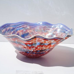 None - Hand-blown Blue/ Red Glass Dish - Add a modern touch to your home decor with this colorful glass dish. This hand-blown glass decorative piece features a rippled edge.
