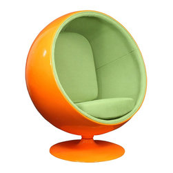 Bright Future Lounge Chair - Green on Orange - Cocooned in this lounge chair, the future looks bright. A molded fiberglass shell protects the inner workings of the chair and gives you privacy as you retreat into the comfortable cushions. In the year 2000 . . . In the year 2000 . . .