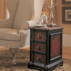 Hooker Furniture Co - 3 Drawer Black and Red Accent Chest - This 3 drawer black and red accent table from the Hooker Furniture Seven Seas Collection screams old world Europe.  The hand-painted lattice and scrollwork in muted gold is reminiscent of the decorative embellishments found all over buildings and furniture in Tuscany.  This beautiful accent table is finished on all sides and is composed of hardwood solids with oak veneers.