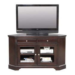 Winners Only - Metro 55 in. Corner Media Cabinet in Espresso - Two drawers. Two glass inserts door. Adjustable shelves. Simple round silver knobs. 55 in. W x 21 in. D x 32 in. H (160 lbs.)