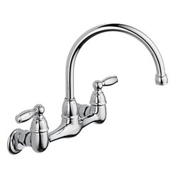 "Peerless - Peerless P299305LF Wallmount Kitchen Faucet - This 2 handle wall-mounted kitchen faucet features a 2 handle design, adjustable 7"" to 9"" centers when mounting, a 9-3/8"" high 8"" long spout, a fully replaceable washerless valve design, interchangeable valve stems, and eccentric unions with 1/2"" 14 NPSM threaded female inlets."