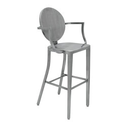 Kathy Kuo Home - Louis Industrial French Modern Medallion Brushed Steel Bar Stool - Blending Industrial and Modern, this stainless steel bar stool has a metallic finish over a curved medallion-style back. Classic lines and a molded comfortable seat are enhanced with elegantly shaped arms. This seat is ideal for nights around the bar or breakfasts at the kitchen counter.