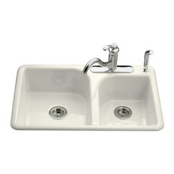 """Kohler - Kohler K-5948-4-96 Biscuit Efficiency Efficiency 33"""" Double Basin - Product Features:Double basin sink with a 60/40 split provides increased versatility for any taskCovered under Kohler s limited lifetime warrantyThe Efficiency sink features an innovative offset faucet ledge that maximizes basin space while creating a distinctive asymmetirc appearanceThe large/medium basins allow you to keep clean and dirty dishes separate, while providing ample room for oversized pots and pansConstructed of enameled cast-iron which combines strength, durability and insulation benefitsTop-mount installation makes for a quick and easy install wile keeping the elegant you craveRear drain location increases workspace area in the sink as well as storage area underneathAll hardware needed for installation includedProduct Technologies / Benefits:Enameled Cast-Iron:  Kohler Enameled Cast-Iron combines the strength, durability, and insulation benefits of cast-iron with the scratch, chip, and burn resistance of a baked, powder coat finish and comes with an exceptional Lifetime Limited Warranty. When these materials are combined it gives the sink or tub the strength to last a lifetime of use. Kohler Enameled Cast-Iron is also available in a wide variety of specialty colors allowing you to truly customize your home.Product Specifications:Height: 7-5/8"""" (measured from the bottom of the sink to the top most point of the sink)Overall Width: 22"""" (measured from the back outer rim to the front outer rim)Overall Length: 33"""" (measured from the left outer rim to the right outer rim)Basin Width (left): 19"""" (measured from the back inner rim to the front inner rim)Basin Length (left): 16"""" (measured from the left inner rim to the right inner rim)Basin Depth (left): 6-3/4"""" (measured from center of the basin to the rim)Basin Width (right): 16"""""""