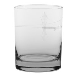 Rolf Glass - Fly Fishing DOF 14oz, Set of 4 - Make yours a double, whether it's an actual cocktail or simply a glass of guava juice, it will taste better in these cut-glass double-old-fashioned tumblers. The delicate fly-fishing design etched on the glass will lure you in.