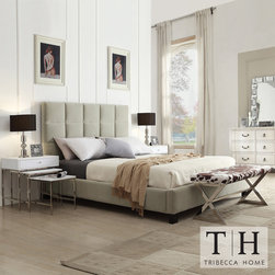 Tribecca Home - TRIBECCA HOME Sarajevo Taupe Velvet Column King-size Bed - This modern king size platform bed features taupe velvet and a tufted headboard. The bed set includes a headboard, a footboard, a set of rails, and 14 platform slats. The bed has a black finish. Headboard height is 52.75 and the footboard height is 9.