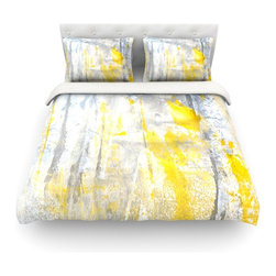 "Kess InHouse - CarolLynn Tice ""Abstraction"" Grey Yellow Cotton Duvet Cover (Queen, 88"" x 88"") - Rest in comfort among this artistically inclined cotton blend duvet cover. This duvet cover is as light as a feather! You will be sure to be the envy of all of your guests with this aesthetically pleasing duvet. We highly recommend washing this as many times as you like as this material will not fade or lose comfort. Cotton blended, this duvet cover is not only beautiful and artistic but can be used year round with a duvet insert! Add our cotton shams to make your bed complete and looking stylish and artistic! Pillowcases not included."