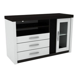 "CBCB-1277 - White and Espresso Finish Wood Media Center TV Stand with Drawers and Shelves - White and espresso finish wood Media center TV stand with drawers and shelves. This set features a two tone finish of white and espresso with 3 slide out drawers and one cabinet with open shelves. measures 47 1/2"" x 18"" x 30 1/2"" H. Some assembly required."