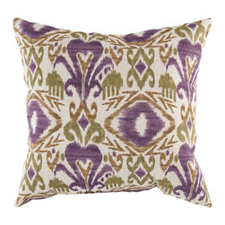 "Surya - Ikat Square Pillow ZZ-421 - 18"" x 18"" - Trendy and traditional blend together perfectly in this pristine pillow, destined to be a centerpiece in your home. Featuring an ikat style pattern, this piece, with gallant green, purple, and brown coloring, offers a fun, yet functional solution to updating your decor. This pillow provides a reliable and affordable solution to updating your indoor or outdoor decor."