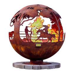 "The Fire Pit Gallery - Round Up 37"" Ranch Steel Fire Pit Sphere with Flat Steel Base - Round-Up features a ranch with four scenes. A cowboy on a horse roping a calf. Another scene shows a little boy standing on a fence watching with Grandpa by his side. There are also cattle and a bull in two separate scenes."