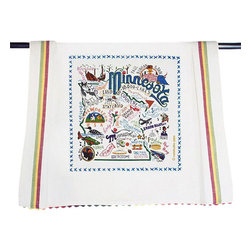 CATSTUDIO - Minnesota State Dish Towel by Catstudio - This original design celebrates the state of Minnesota from Rochester to LIttle Falls to International Falls.. lots of water up there! What a beautiful state!  This design is silk screened, then framed with a hand emboridered border on a 100% cotton dish towel/ hand towel/ guest towel/ bar towel. Three stripes down both sides and hand dyed rick-rack at the top and bottom add a charming vintage touch. Delightfully presented in a reusable organdy pouch. Machine wash and dry.