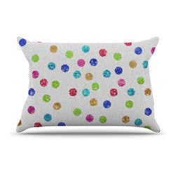 "Kess InHouse - Beth Engel ""Seeing Dots"" Rainbow White Pillow Case, King (36"" x 20"") - This pillowcase, is just as bunny soft as the Kess InHouse duvet. It's made of microfiber velvety fleece. This machine washable fleece pillow case is the perfect accent to any duvet. Be your Bed's Curator."