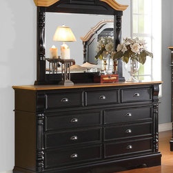 "Coaster - Oleta Dresser - Create a beautiful focal point for your master bedroom with the stunning Oleta bedroom collection. The arched shutter headboard with simple molding and low-profile footboard adds to the classic country cottage style. Matching pieces come in a rich black finish with attractive oak tops. Enjoy a calm and tranquil setting while you relax in bed with a morning cup of coffee with help from the Oleta collection. Collection: Oleta; Style: Country; Finish/Color: Black/Oak Finish; Felt lined top drawer; Dove tail drawers; Full extension glides; Dimensions: 65.00""L x 19.00""W x 39.25""H"