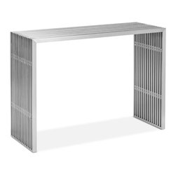 Zuo - Slatted Steel Console Table - The Slatted Steel Console Table, made from 100% stainless steel, is strong and sturdy.  Put this durable piece of furniture in any space and instantly transform it from boring to bold.  This Slatted Steel Console Table makes an unforgettable statement in entry halls, dining rooms, kitchens, bedrooms, and the home office.  It's durable design makes it at once elegant and indestructible, perfect for the busy modern home.  The Slatted Steel collection also features a long coffee table, square coffee table, dining table, double bench and single bench.