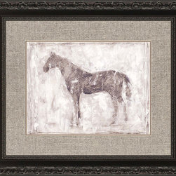 Paragon Decor - Equine Silhouette II Artwork - Regal horse silhouette features a textured giclee matted under glass.  Framed in an ornate black finish molding with subtle aging.