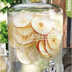 "Home Essentials - Nantucket Vintage Glass Jar Drink Dispenser - It's fun to play hostess, however you don't want to run back and forth to the kitchen every time a guest wants a drink! Crafted of high quality glass and fashioned into the shape of a bail & trigger jar this beverage dispenser is an established and classy way to host and serve. Our high quality glass drink dispenser is the perfect beverage companion to spring garden parties, summer barbeques or children's birthday parties on the patio. Enjoy some refreshing raspberry lemonade or sangria in the heat of summer or some ice cold coke year round!   * Capacity: 2 gallons  * Heavy duty acrylic spout  * Bottom measures: 7.5"" in diameter"