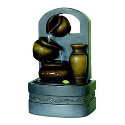 Kelkay - Lyford Fountain - Kelkay Miniature Fountains are the ideal gift and great for any home or patio. They create a calm and relaxing environment and help as a natural humidifier when in indoors. Beautifully detailed designs with low voltage pumps included. Durable resin-stone construction designed for both outdoor and indoor use. All Kelkay easy fountains are self contained with no need for a permanent water supply. They are easy to unpack and assemble needing no tools. The fountain in a box.