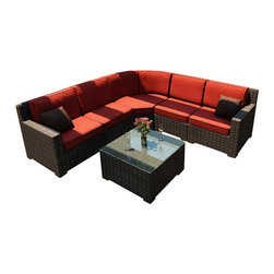 Forever Patio - Capistrano 6 Piece Outdoor Wicker Sectional Set, Flagship Ruby Cushions - The Forever Patio Capistrano 6 Piece Rattan Patio Sectional Set with Red Sunbrella cushions (SKU FP-CAP-6SEC-MC-FF) will turn any patio into a deluxe outdoor living space. The set seats 5 adults comfortably, and features variegated mocha resin wicker with half-round strands. Each strand of wicker is infused with UV-inhibitors that prevent cracking, chipping and fading ordinarily caused by sunlight. Every piece is constructed with thick-gauged, powder-coated aluminum frames that are extremely durable and corrosion resistant. Also included are fade- and mildew-resistant Sunbrella cushions. These cushions are generously sized in thickness and seating area, delivering unrivaled outdoor comfort.