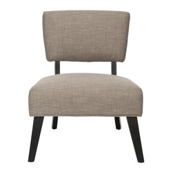 Safavieh - Christine Chair - Light Brown - All curves and angles, the transitional Christine accent chair brings fashion flair to the living room, family room or bedroom. Shown with light brown textured upholstery in a blend of synthetic fibers and cotton, the fabric is crisply contrasted with dark brown birch wood frame.