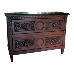 British Traditions - 2 Drawer Highly Carved French Chest (Antique White) - Finish: Antique White. Each finish is hand painted and actual finish color may differ from those show for this product. Highly carved French chest. 2 Drawers. Can only take knobs, not pulls. Drawer size: 39.25 in. W x 15 in. D x 10 in. H. 46 in. W x 17.75 in. D x 34 in. H (104 lbs.)Highly carved with French moldings, the Belle Fleur chest adds elegance to any room.