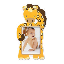 Lawrence Frames - Nursery Collection - Giraffe 4x6 - Adorable Giraffe picture frame. Cute animal themed picture frame is the perfect compliment to any nursery or makes the perfect gift. High quality black wood backing with easel for table top display. Individually boxed.