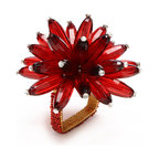 Red/Crystal Constellation Napkin Ring - Firework sprays of long faceted beads adorn your napkins while square rings neatly confine them in the Constellation Napkin Rings.  The designer element is made from a gorgeous, chrysanthemum-like cluster of translucent colored beads, while lush seed-beading brings the chic square base rings to match.  These napkin rings are a beautiful addition of glistening texture and color to complete place settings planned to perfection. This item is sold as a single unit.