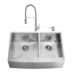 """VIGO Industries - VIGO All in One 36-inch Farmhouse Stainless Steel Double Bowl Kitchen Sink and F - Breathe new life into your kitchen with a VIGO All in One Kitchen Set featuring a 36"""" Farmhouse - Apron Front sink, faucet, soap dispenser, two matching bottom grids and two strainers."""