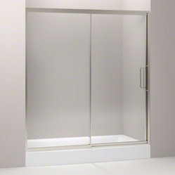 "KOHLER Lattis(R) pivot shower door, 76"" H x 69 - 72"" W,  with 3/8"" thick Crystal"