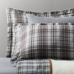 European Cabin Plaid Flannel & European Solid Flannel Bedding Collection - The Ace Hotel mixes shades of gray in solids and plaids for their bedding collections.