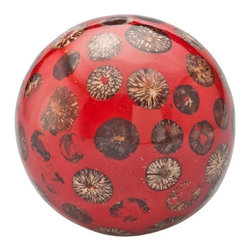 Kouboo - Decorative Ball with Beetle Nut Inlay, Red - This decorative red ball is a conversation piece. Handmade with an inlay of beetle nut, it exudes a tropical aura.