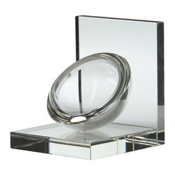 Lazy Susan - Lazy Susan 329023 Crystal Sphere Bookends - 2 Piece Set - Illuminate the brilliance of your library collection with these exquisite crystal bookends. Sturdy in their design, the presentation is further heightened by an eye-catching, half-sphere perched at an angle, playfully mimicking the act of supporting an object. This delightful set speaks volumes of its collector.