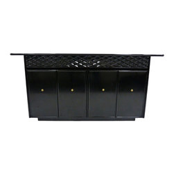 Empire Contemporary Furnishings - Consigned Ebonized Diamond Drawer Credenza - A newly enameled high-gloss vintage black credenza with brass ball hardware by Empire Contemporary Furnishings. An enamel finish offers a high gloss lacquer-like finish with improved versatility.